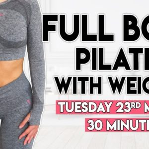 PILATES with WEIGHTS (full body tone) | 30 minute Home Workout